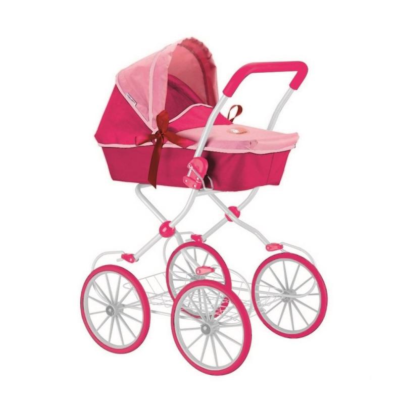 Кукольная коляскаКукольная коляска розовогоцвета марки RTдля девочек.<br>Классическая изящная коляска для кукол выполнена в элегантном стиле, декорирована бантиками и рамой белого цвета. Такая игрушечная коляска очень похожа на настоящую, в ее комплект входят складывающийся капюшон, багажник и ручка, выполненная из мягкого материала. Модель дополнена возможностью перестановки люльки, чтобы можно было установить блок лицом к дороге или лицом к маме. Большие прорезиненные колеса со спицами белого цвета обеспечивают плавный ход, поэтому коляска не гремит во время движения. У модели предусмотрены амортизаторы, что делает ее устойчивой и проходимой. При помощи специальных креплений на раме куклу в коляске можно укачивать. Коляска высотой 85 см, высота ручки составляет 83 см.<br>Благодаря такой игрушке малышки с удовольствием будут играть в дочки-матери, катая и убаюкивая своих кукол.<br>Высота коляски: 85 см;<br>Высота ручки: 83 см;<br>Размер игрушки: 46х85х59 см;<br>Вес игрушки: 3,88 кг;<br>Размер упаковки: 37х56х15 см.<br><br>Цвет: Розовый<br>Возраст от: 3 года<br>Пол: Для девочки<br>Артикул: 650011<br>Страна производитель: Китай<br>Бренд: Россия<br>Размер: от 3 лет