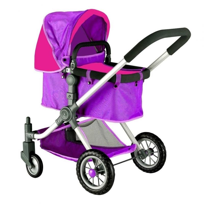 Кукольная коляскаКукольная коляска фиолетового цвета марки RT для девочек.<br>Стильная закрытая коляска-трансформер для кукол выполнена в дизайне, разработанном в Испании. Инновационная модель имеет перекидную ручку с возможностью передвижения вперед и назад, а также съемную люльку, вместо которой можно поставить прогулочный блок (входит в комплект).<br>Уникальная коляска с вращающимися на 360 градусов колесами, которые делают коляску маневренной, проходимой и устойчивой, что позволяет малышкам легко управлять игрушкой на дороге. Для бесшумности колеса дополнительно прорезинены сверху. Ручка и каркас имеют мягкий ободок. Коляска дополнена большим складным капюшоном и нижней сеткой для перевозки вещей. Глубокая и просторная люлька, в которой может поместиться даже самая большая кукла.<br>Благодаря такой игрушке малышки с удовольствием будут играть в дочки-матери, катая своих любимых куколок.<br>Длина люльки: 53 см;<br>Максимальная высота от пола до ручки: 75 см;<br>Высота до капюшона: 80 см;<br>Размер игрушки: 46х85х59 см<br>Вес игрушки: 4,25 кг;<br>Размер упаковки: 39х56х15 см.<br><br>Цвет: Фиолетовый<br>Возраст от: 3 года<br>Пол: Для девочки<br>Артикул: 650017<br>Бренд: Россия<br>Страна производитель: Китай<br>Размер: от 3 лет