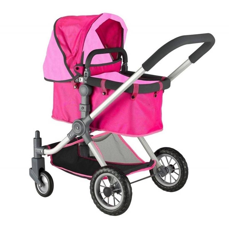 Кукольная коляскаКукольная коляска розовогоцвета марки RT для девочек.<br>Стильная закрытая коляска-трансформер для кукол выполнена в дизайне, разработанном в Испании. Инновационная модель имеет перекидную ручку с возможностью передвижения вперед и назад, а также съемную люльку, вместо которой можно поставить прогулочный блок (входит в комплект).<br>Уникальная коляска с вращающимися на 360 градусов колесами, которые делают коляску маневренной, проходимой и устойчивой, что позволяет малышкам легко управлять игрушкой на дороге. Для бесшумности колеса дополнительно прорезинены сверху. Ручка и каркас имеют мягкий ободок. Коляска дополнена большим складным капюшоном и нижней сеткой для перевозки вещей. Глубокая и просторная люлька, в которой может поместиться даже самая большая кукла.<br>Благодаря такой игрушке малышки с удовольствием будут играть в дочки-матери, катая своих любимых куколок.<br>Длина люльки: 53 см;<br>Максимальная высота от пола до ручки: 75 см;<br>Высота до капюшона: 80 см;<br>Размер игрушки: 46х85х59 см<br>Вес игрушки: 4,25 кг;<br>Размер упаковки: 39х56х15 см.<br><br>Цвет: Розовый<br>Возраст от: 3 года<br>Пол: Для девочки<br>Артикул: 650018<br>Страна производитель: Китай<br>Бренд: Россия<br>Размер: от 3 лет