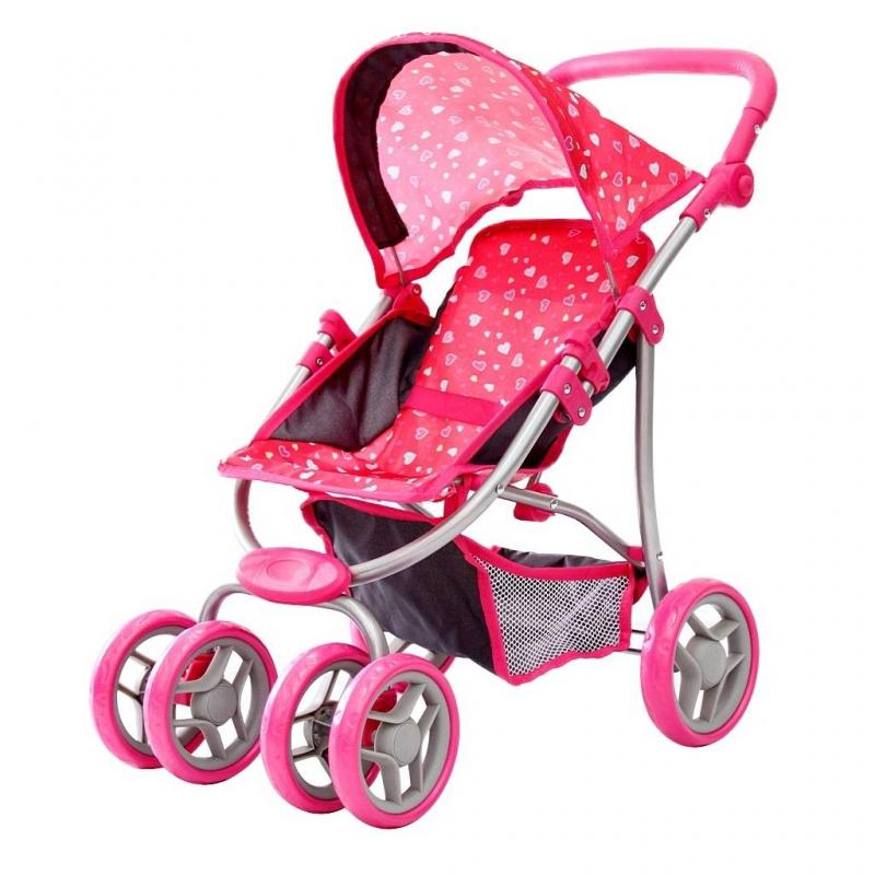 Кукольная коляскаКукольная коляска красного цвета марки RT для девочек.<br>Стильная четырехколесная складывающаяся коляска декорирована принтом с изображением сердечек, а также дополнена багажником-сеткой и складным капюшоном. Прорезиненные колеса обеспечивают плавность хода и не гремят на дороге. Сдвоенные передние колеса вращаются на 360 градусов, обеспечивая маневренность и проходимость. Ручка из мягкого материала регулируется по высоте при помощи специальных боковых кнопок.<br>Высота коляски: 59 см;<br>Высота ручки: 46-56 см;<br>Высота от пола до сиденья: 24 см;<br>Ширина по колесам: 35 см;<br>Вес игрушки: 2,3 кг;<br>Размер упаковки: 32х16х50 см.<br><br>Цвет: Красный<br>Возраст от: 3 года<br>Пол: Для девочки<br>Артикул: 650025<br>Страна производитель: Китай<br>Бренд: Россия<br>Размер: от 3 лет