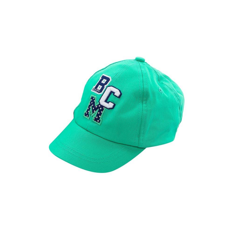 БейсболкаБейсболказеленогоцвета марки Mayoral для мальчиков.<br>Однотонная бейсболка выполнена из чистогохлопка и декорирована вышивкой в бело-синих тонах, а также на затылке модель дополнена небольшой резинкой.<br><br>Цвет: Зеленый<br>Размер шапки: 50<br>Пол: Для мальчика<br>Артикул: 645394<br>Бренд: Испания<br>Страна производитель: Китай<br>Сезон: Весна/Лето<br>Состав: 100% Хлопок<br>Размер: Без размера
