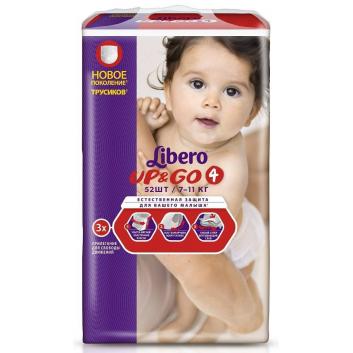 Гигиена, Подгузники-трусики Up&Go Size 4 7-11 кг 52 шт Libero 161639, фото