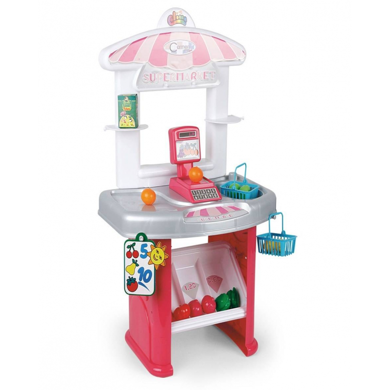 Игровой набор СупермаркетИгровой набор Супермаркет марки Coloma.<br>Детский супермаркет выполнен в ярких цветах и похож на настоящий магазин. В комплект набора входят 17 аксессуаров: корзинки для покупок, весы, муляжи овощей и фруктов.<br>Материал: пластик;<br>Размер игрушки: 40х26х63,5 см.<br><br>Возраст от: 3 года<br>Пол: Для девочки<br>Артикул: 650065<br>Бренд: Испания<br>Размер: от 3 лет