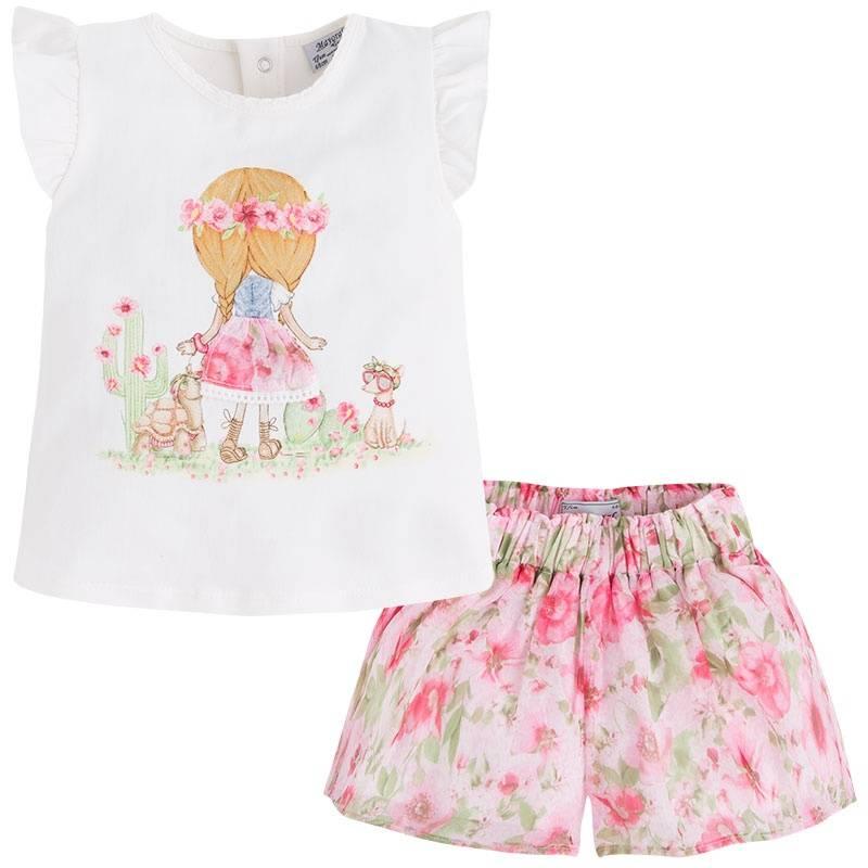 КомплектКомплектшорты+футболка розовогоцвета марки Mayoral для девочек.<br>В комплектвходятшорты на подкладке и футболка с коротким рукавом. Шорты на широкой резинкедополненыподкладкой белого цвета. Футболка декорирована принтом с изображениемдевочки и зверушек, а такжеимеются кнопки для удобства переодевания малышки.<br><br>Размер: 18 месяцев<br>Цвет: Розовый<br>Рост: 86<br>Пол: Для девочки<br>Артикул: 646523<br>Страна производитель: Китай<br>Сезон: Весна/Лето<br>Состав верха: 98% Хлопок, 2% Эластан<br>Состав низа: 65% Полиэстер, 35% Хлопок<br>Состав подкладки: 100% Полиэстер<br>Бренд: Испания<br>Вид застежки: Кнопки
