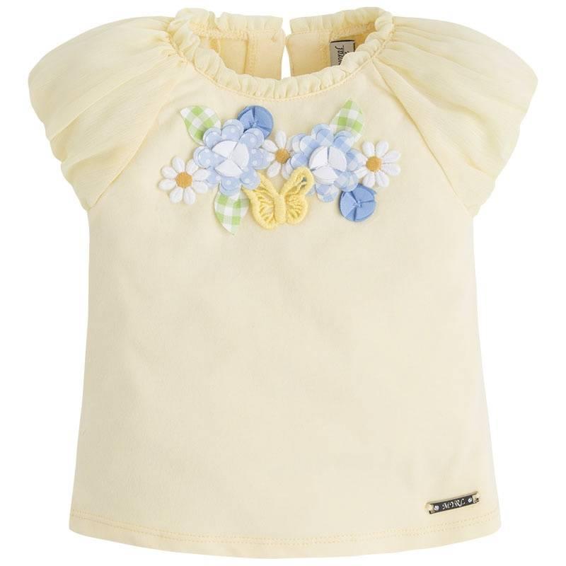 ФутболкаФутболка желтогоцвета марки Mayoral для девочек.<br>Хлопковая футболка с коротким рукавом на резинке декорирована цветочными нашивками, а также украшена рюшами. Имеетсяпуговицадля удобства переодевания малышки.<br><br>Размер: 2 года<br>Цвет: Желтый<br>Рост: 92<br>Пол: Для девочки<br>Артикул: 646095<br>Страна производитель: Китай<br>Сезон: Весна/Лето<br>Состав: 95% Хлопок, 5% Эластан<br>Бренд: Испания<br>Вид застежки: Пуговицы