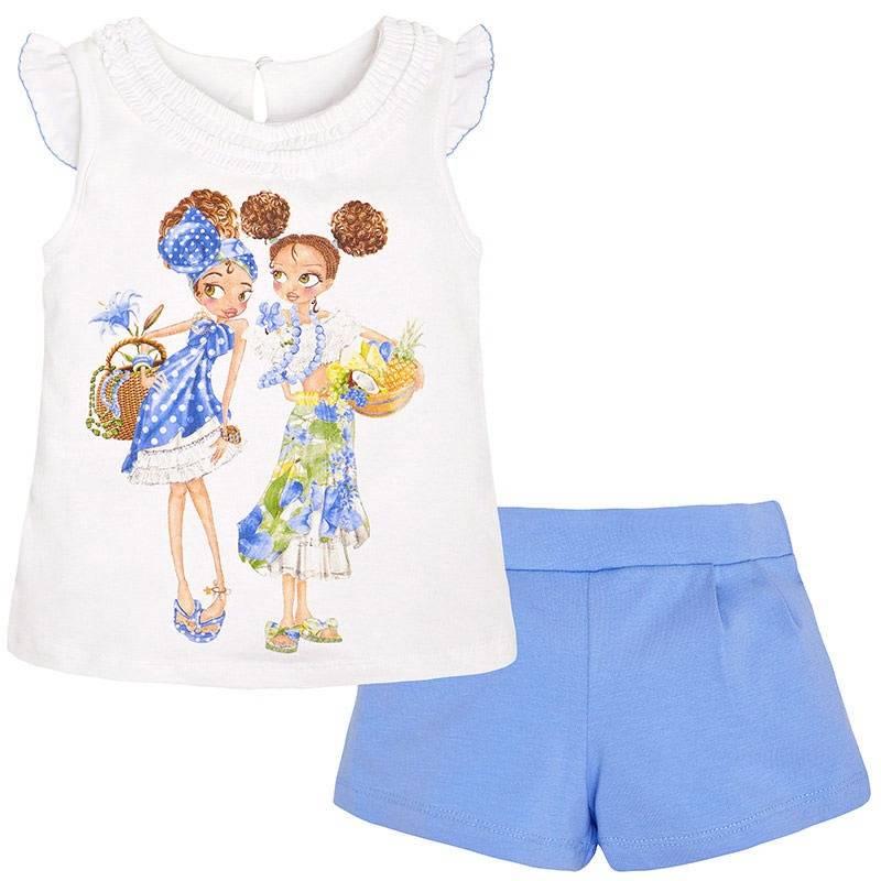 КомплектКомплект майка+шорты синегоцвета марки Mayoral для девочек.<br>Комплект состоит из хлопковых шортов и майки. Шорты дополнены поясом на широкой резинке с пуговицей на внутренней стороне. Майка декорирована летним принтом с изображением двух девочек и рюшами. Имеетсяпуговицана спинке для удобства переодевания малышки.<br><br>Размер: 9 лет<br>Цвет: Синий<br>Рост: 134<br>Пол: Для девочки<br>Артикул: 645834<br>Страна производитель: Китай<br>Сезон: Весна/Лето<br>Состав: 95% Хлопок, 5% Эластан<br>Бренд: Испания<br>Вид застежки: Пуговицы