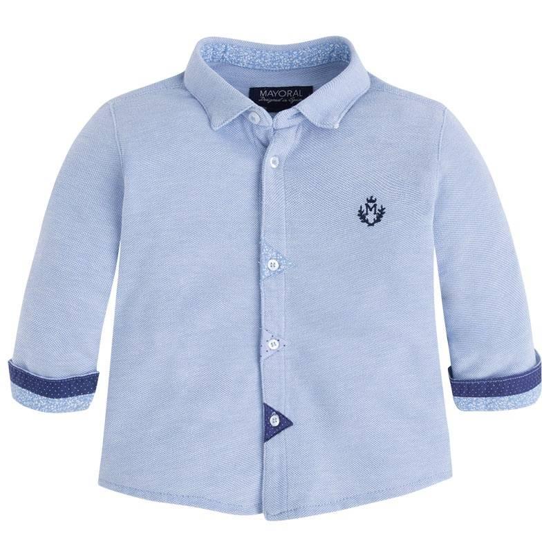 РубашкаРубашка голубогоцвета марки Mayoralдля мальчиков.<br>Хлопковая рубашкас длиннымрукавом выполнена из ткани пике. Модель декорирована сине-голубыми вставками, а также стильной вышивкой. Застегивается на пуговицы по всей длине.<br><br>Размер: 9 месяцев<br>Цвет: Голубой<br>Рост: 74<br>Пол: Для мальчика<br>Артикул: 646234<br>Страна производитель: Индия<br>Сезон: Весна/Лето<br>Состав: 100% Хлопок<br>Бренд: Испания<br>Вид застежки: Пуговицы