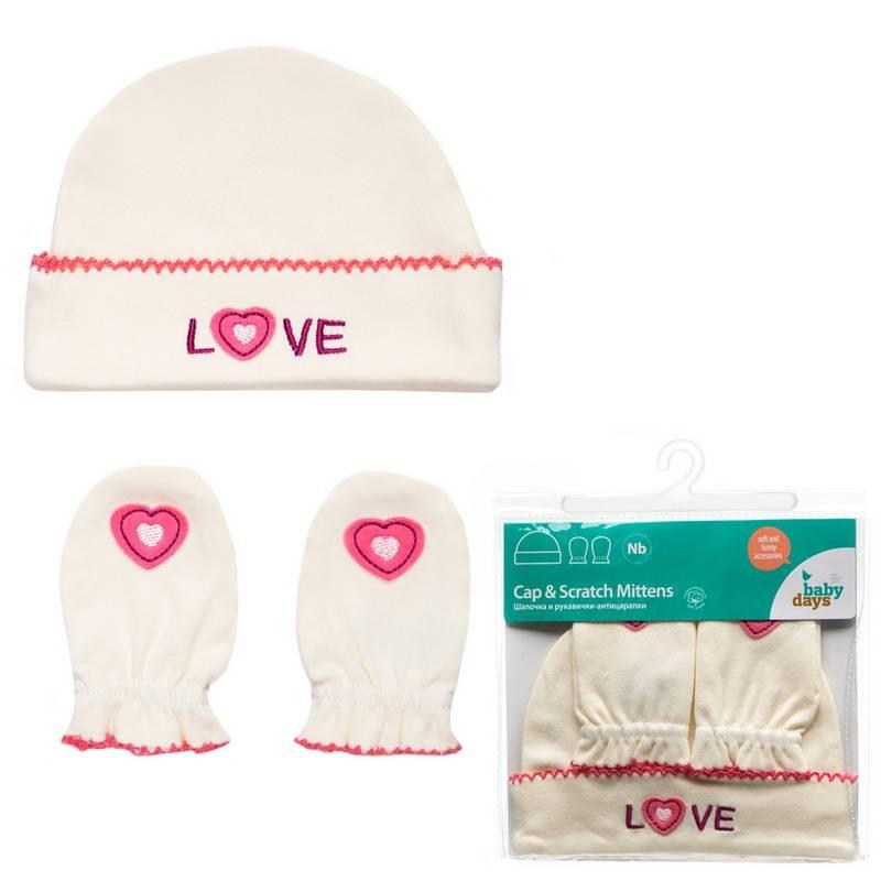 Babydays Комплект шапочка и рукавички-антицарапки