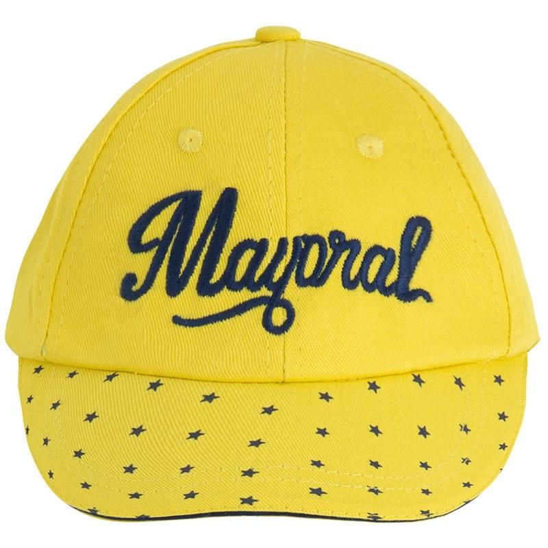 БейсболкаБейсболка желтогоцвета марки Mayoral для мальчиков.<br>Бейсболка из натурального хлопка украшена вышивкой синего цвета и принтом с изображением звездочек на козырьке, а также дополнена резинкой на затылке.<br><br>Размер: 12 месяцев<br>Цвет: Желтый<br>Размер: 46<br>Пол: Для мальчика<br>Артикул: 646152<br>Бренд: Испания<br>Страна производитель: Китай<br>Сезон: Весна/Лето<br>Состав: 100% Хлопок