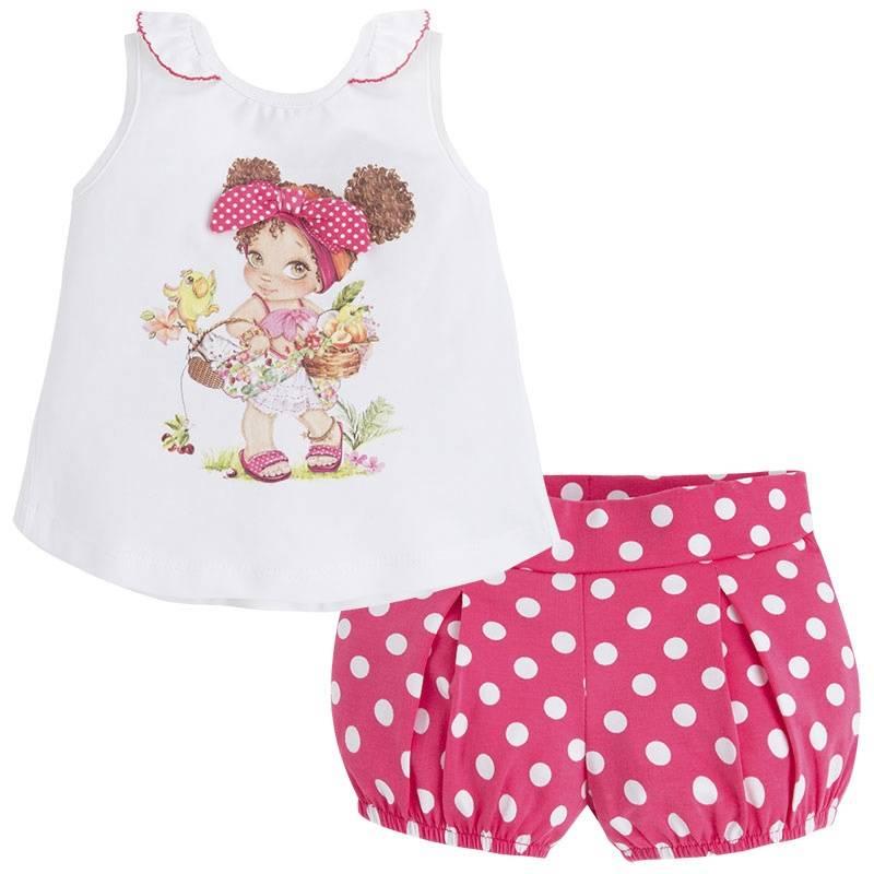 КомплектКомплект майка+шорты малинового цвета марки Mayoral для девочек.<br>В набор входят хлопковые шорты и майка. Шортики украшены принтом в белый горошек, а также дополнены удобной резинкой напоясе. Майка декорирована принтом с изображением милой девочки, бантиками, а также рюшами. На спинке имеются кнопки для удобства переодевания малышки.<br><br>Размер: 18 месяцев<br>Цвет: Малиновый<br>Рост: 86<br>Пол: Для девочки<br>Артикул: 645883<br>Страна производитель: Китай<br>Сезон: Весна/Лето<br>Состав: 95% Хлопок, 5% Эластан<br>Бренд: Испания<br>Вид застежки: Кнопки