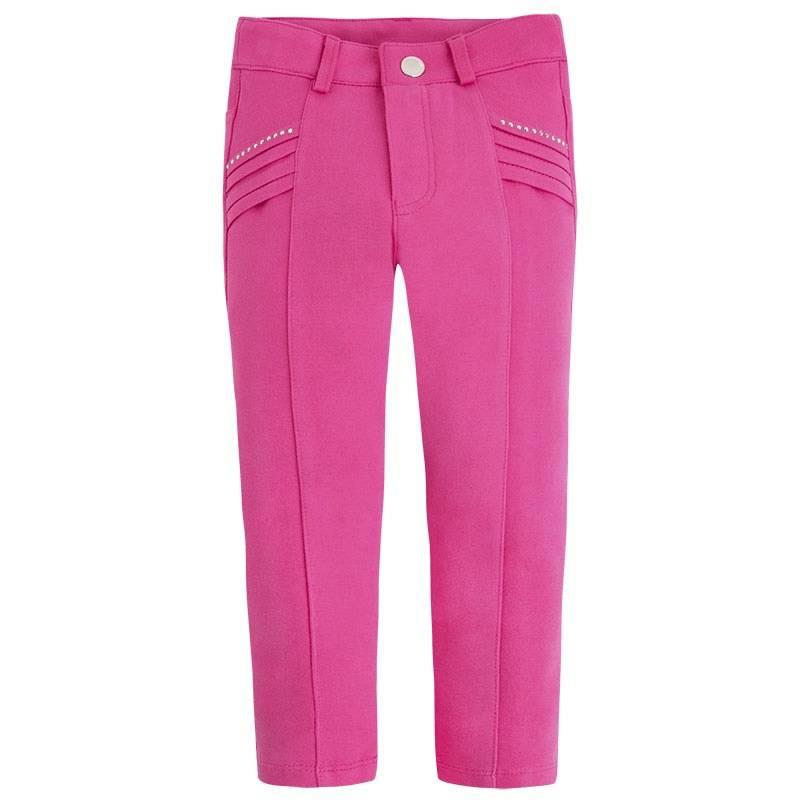 БрюкиБрюки розового цвета марки Mayoral для девочек.<br>Мягкие эластичные зауженные брюки украшены стразами и дополнены шлейками для ремня. Модель застегивается на молнию и кнопку.<br><br>Размер: 7 лет<br>Цвет: Розовый<br>Рост: 122<br>Пол: Для девочки<br>Артикул: 646680<br>Страна производитель: Китай<br>Сезон: Весна/Лето<br>Состав: 71% Вискоза, 26% Полиамид, 3% Эластан<br>Бренд: Испания<br>Вид застежки: Молния