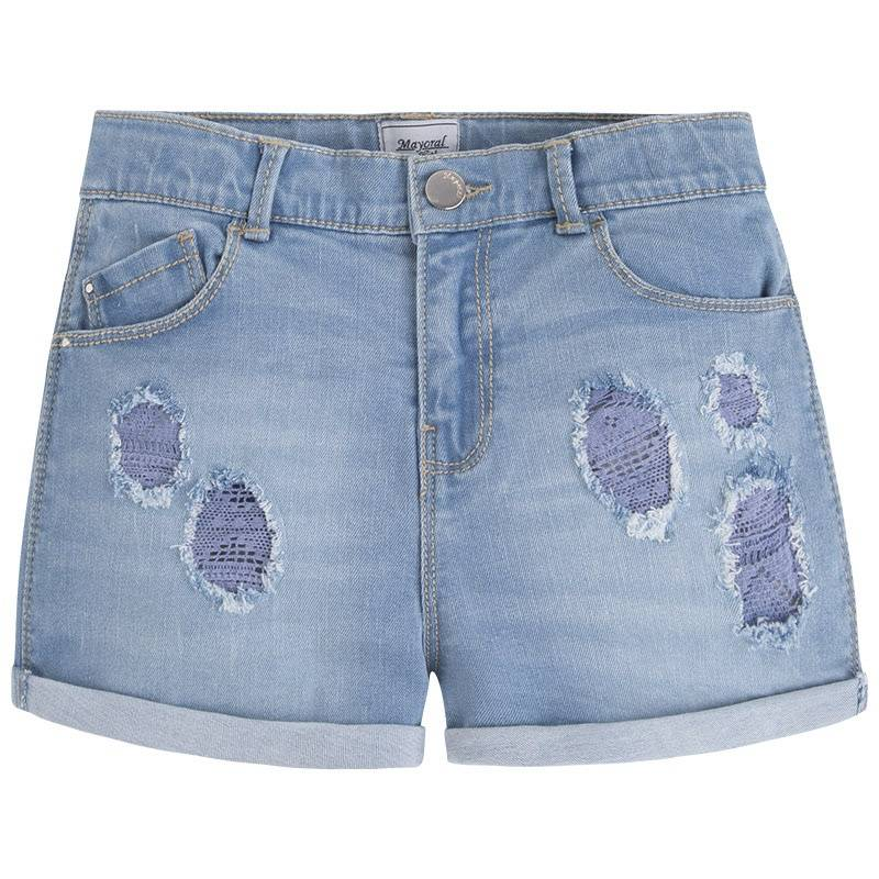 ШортыШорты голубого цвета марки Mayoral для девочек.<br>Джинсовые шорты с отворотами выполнены из хлопка, украшены декоративными потертостями и кружевом. Модель дополнена передними и задними карманами, а также внутренней резинкой на поясе.<br><br>Размер: 12 лет<br>Цвет: Голубой<br>Рост: 152<br>Пол: Для девочки<br>Артикул: 646134<br>Страна производитель: Индия<br>Сезон: Весна/Лето<br>Состав: 98% Хлопок, 2% Эластан<br>Бренд: Испания<br>Вид застежки: Молния