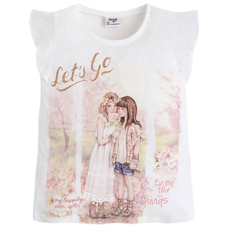 ФутболкаФутболка розового цвета марки Mayoral для девочек.<br>Легкая хлопковая футболка украшена стильным принтом с изображением двух девочек, а также декорирована рюшами, стразами и кружевом.<br><br>Размер: 7 лет<br>Цвет: Розовый<br>Рост: 122<br>Пол: Для девочки<br>Артикул: 645936<br>Страна производитель: Китай<br>Сезон: Весна/Лето<br>Состав: 50% Хлопок, 50% Модал<br>Бренд: Испания