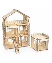 Конструктор кукольный домик Коттедж с пристройкой Premium ХэппиДом