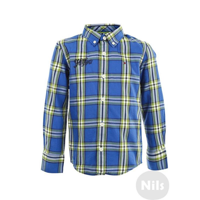 РубашкаРубашка в клетку синего цвета марки TOMMY HILFIGER для мальчиков. Рубашка с воротничком на пуговицах изготовлена из стопроцентного хлопка в сине-зеленую клетку, украшена вышивкой и логотипом на груди.<br><br>Размер: 8 лет<br>Цвет: Синий<br>Рост: 128<br>Пол: Для мальчика<br>Артикул: 605331<br>Страна производитель: Индия<br>Сезон: Всесезонный<br>Состав: 100% Хлопок<br>Бренд: США<br>Вид застежки: Пуговицы