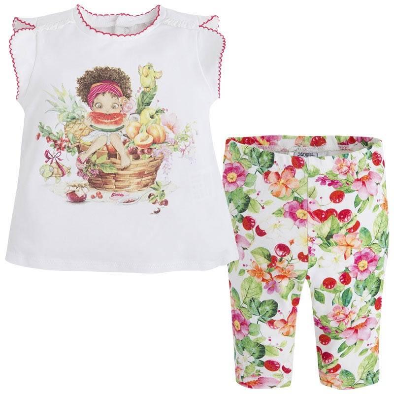 КомплектКомплект футболка+леггинсы малинового цвета марки Mayoralдля девочек.<br>В набор входят хлопковые леггинсы и футболка с коротким рукавом. Яркие леггинсы на широкой резинке украшены цветочным принтом. Футболка декорирована изображением забавной девочки, а также дополнена милой оборкой на спинке. Также на спинке имеются кнопкидля удобства переодевания малышки.<br><br>Размер: 9 месяцев<br>Цвет: Малиновый<br>Рост: 74<br>Пол: Для девочки<br>Артикул: 645750<br>Страна производитель: Китай<br>Сезон: Весна/Лето<br>Состав верха: 95% Хлопок, 5% Эластан<br>Состав низа: 91% Хлопок, 9% Эластан<br>Бренд: Испания<br>Вид застежки: Кнопки