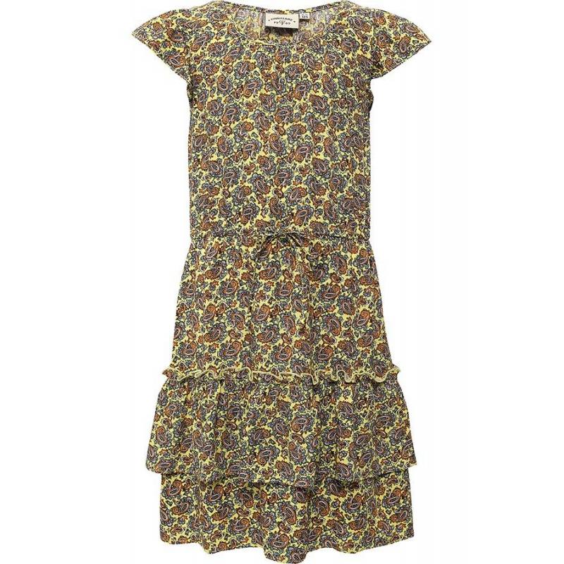 ПлатьеПлатье желтогоцвета марки Finn Flare.<br>Стильное легкое платье выполнено в яркой расцветке из стопроцентной вискозы. Платьес ярусной юбкой декорировано принтом турецкий огурец и дополнено завязками на талии. Рукава-крылышки выгодно подчеркивают оригинальную модель.<br><br>Размер: 7 лет<br>Цвет: Желтый<br>Рост: 122<br>Пол: Для девочки<br>Артикул: 646817<br>Страна производитель: Китай<br>Сезон: Весна/Лето<br>Состав: 100% Вискоза<br>Бренд: Финляндия
