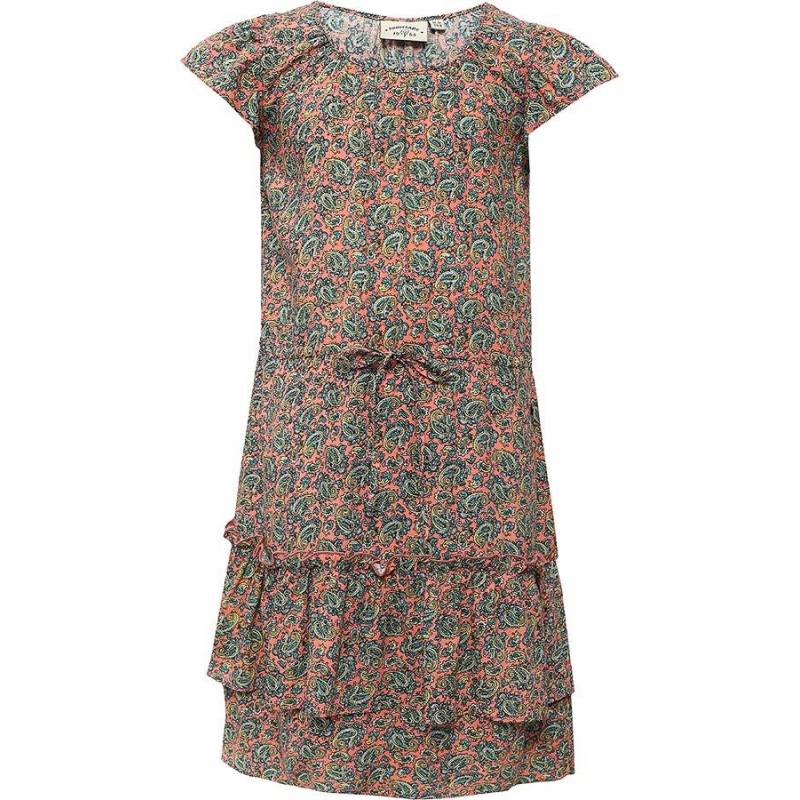 ПлатьеПлатье коралловогоцвета марки Finn Flare.<br>Стильное легкое платье выполнено в яркой расцветке из стопроцентной вискозы. Платьес ярусной юбкой декорировано принтом турецкий огурец и дополнено завязками на талии. Рукава-крылышки выгодно подчеркивают оригинальную модель.<br><br>Размер: 7 лет<br>Цвет: Коралловый<br>Рост: 122<br>Пол: Для девочки<br>Артикул: 646815<br>Страна производитель: Китай<br>Сезон: Весна/Лето<br>Состав: 100% Вискоза<br>Бренд: Финляндия