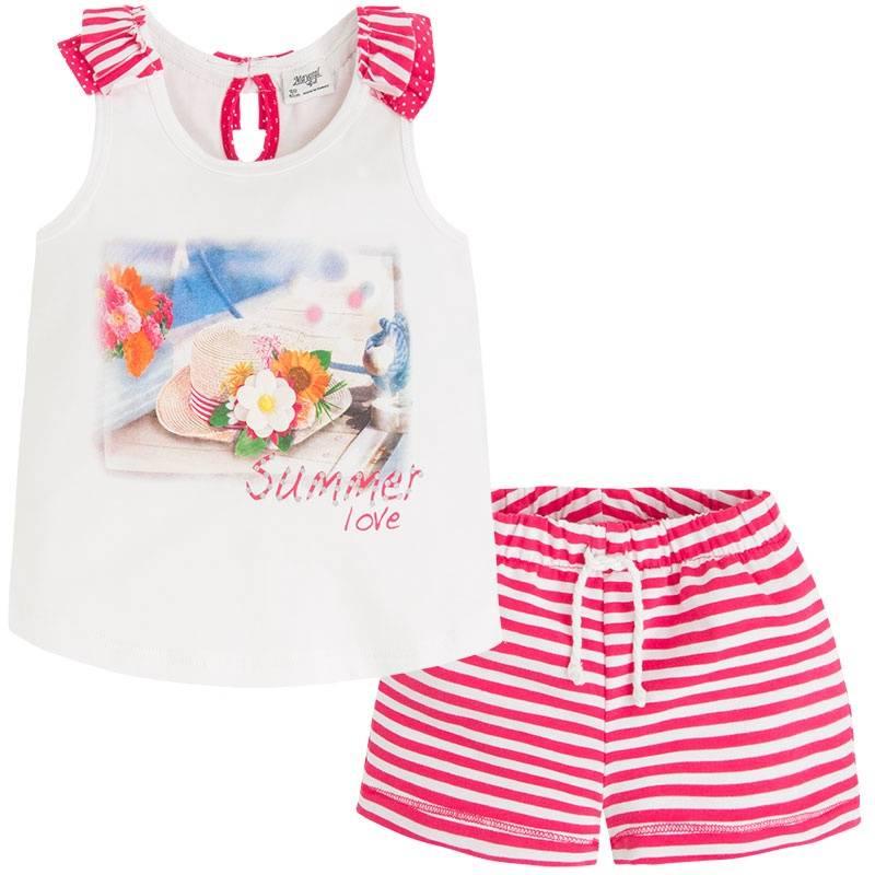 КомплектКомплект майка+шорты малинового цвета марки Mayoralдля девочек.<br>Хлопковый комплект состоит из майки и шортиков. Майка белого цвета украшена стильным принтом, рюшами, стразами и бантиком на спинке. Шорты с резинкой на поясе украшены белыми полосками и декоративными завязками.<br><br>Размер: 4 года<br>Цвет: Малиновый<br>Рост: 104<br>Пол: Для девочки<br>Артикул: 645979<br>Страна производитель: Китай<br>Сезон: Весна/Лето<br>Состав: 95% Хлопок, 5% Эластан<br>Бренд: Испания