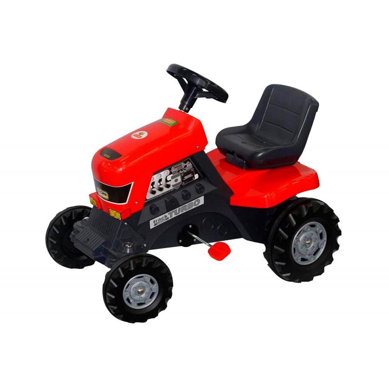 Каталка с педалями ТракторКаталка с педалями ТракторTurbo красного цвета марки Coloma.<br>Яркая каталка оснащена педалями ивыполнена из прочного пластика. Ребенок без труда будет управлять такой каталкой, благодаря удобным педалям с системой цепного привода и рулю с клаксоном, который поворачивается с легкостью. Модель с широкими и большими колесами позволит передвигаться не только по асфальту или ровной поверхности. Комфортабельность во время поездки обеспечивает удобное сиденье и спинка. С данной моделью ребенок весело проведет время на прогулке.<br>Максимальная нагрузка: 50 кг.<br>Размеризделия: 82х50х70х43 см.<br>Размер упаковки: 85х55х80 см.<br><br>Возраст от: 3 года<br>Пол: Для мальчика<br>Артикул: 650240<br>Страна производитель: Китай<br>Бренд: Испания<br>Размер: от 3 лет