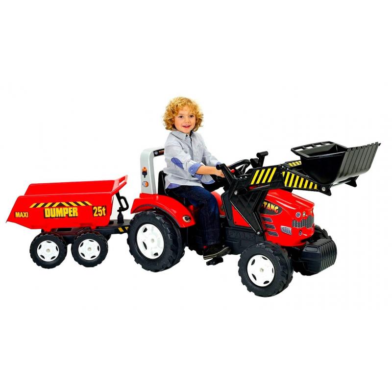 Каталка с педалями Трактор-экскаватор с прицепом