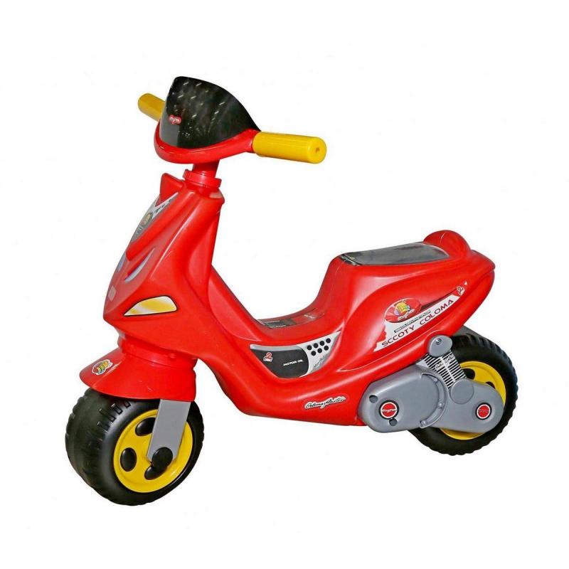 Каталка скутер MIGКаталка скутер MIG красного цвета марки Coloma.<br>Яркая стильная каталка понравится вашему ребенку, ведь она похожа на небольшой скутер. Модельоснащена двумя широкими устойчивыми колесами, обеспечивающими равновесие малышам, если они еще его не умеют удерживать. Эргономичное удобное сиденье идеально подойдет для детей от 18 месяцев. Вся конструкция надежна и безопасна, выполнена из пластика.<br>Благодаря такой каталке ребенок научится держать равновесие и отталкиваться ножками, а также весело проведет время на прогулке.<br>Размер изделия: 63,5x43x56 см.<br>Размер упаковки: 63,5x43x56 см.<br>Вес: 2,5 кг.<br><br>Возраст от: 18 месяцев<br>Пол: Не указан<br>Артикул: 650289<br>Бренд: Испания<br>Размер: от 18 месяцев