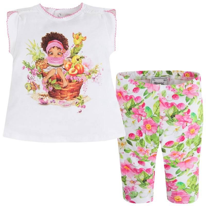 КомплектКомплект футболка+леггинсы розового цвета марки Mayoralдля девочек.<br>В набор входят хлопковые леггинсы и футболка с коротким рукавом. Яркие леггинсы на широкой резинке украшены цветочным принтом. Футболка декорирована изображением забавной девочки, а также дополнена милой оборкой на спинке. Также на спинке имеются кнопкидля удобства переодевания малышки.<br><br>Размер: 9 месяцев<br>Цвет: Розовый<br>Рост: 74<br>Пол: Для девочки<br>Артикул: 646928<br>Страна производитель: Китай<br>Сезон: Весна/Лето<br>Состав верха: 95% Хлопок, 5% Эластан<br>Состав низа: 91% Хлопок, 9% Эластан<br>Бренд: Испания<br>Вид застежки: Кнопки