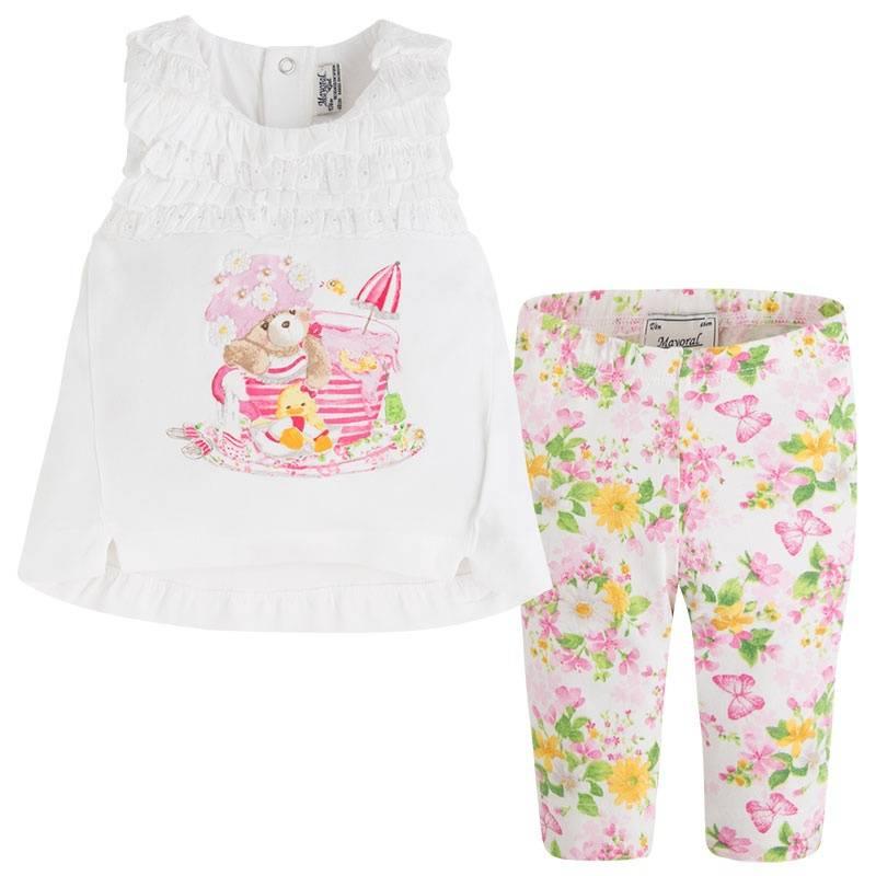 КомплектКомплект футболка+леггинсы розовогоцвета марки Mayoral для девочек.<br>В комплект входят леггинсы, декорированные цветочным принтом, и футболка с изображениемкупающегося мишки, украшеннаярюшами. Имеются кнопки на спинке для удобства переодевания малышки.<br><br>Размер: 9 месяцев<br>Цвет: Розовый<br>Рост: 74<br>Пол: Для девочки<br>Артикул: 647173<br>Страна производитель: Индия<br>Сезон: Весна/Лето<br>Состав: 96% Хлопок, 4% Эластан<br>Бренд: Испания<br>Вид застежки: Кнопки