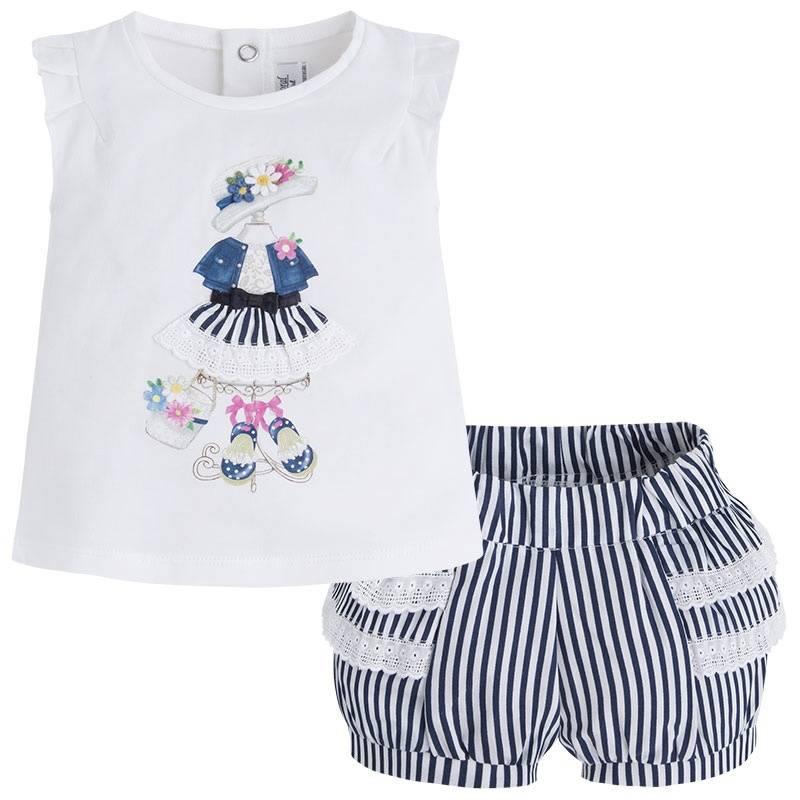 КомплектКомплект темно-синего цвета марки Mayoral для девочек.<br>Комплект состоит из хлопковых шортов и футболки. Шортики на широкой регулируемой резинке украшены белыми полосками и рюшами. Футболка декорирована стильным принтом с объемной юбочкой. На спинке имеются кнопки для удобства переодевания.<br><br>Размер: 9 месяцев<br>Цвет: Темносиний<br>Рост: 74<br>Пол: Для девочки<br>Артикул: 647161<br>Страна производитель: Португалия<br>Сезон: Весна/Лето<br>Состав верха: 92% Хлопок, 8% Эластан<br>Состав низа: 100% Хлопок<br>Бренд: Испания<br>Вид застежки: Кнопки