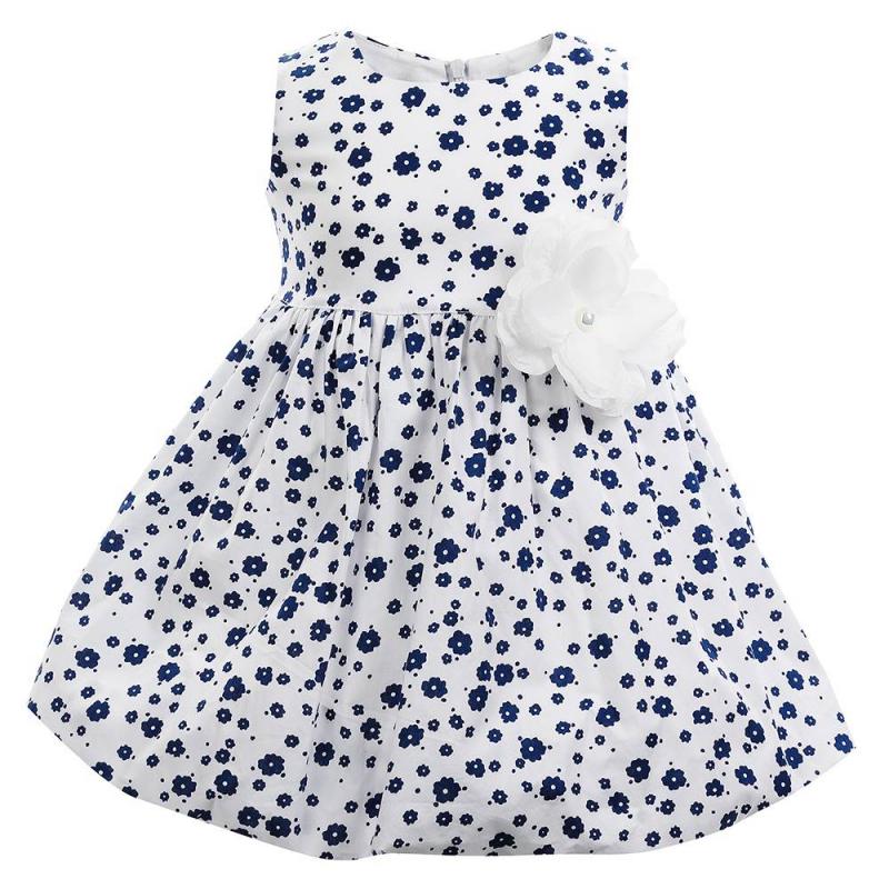 ПлатьеПлатье темно-синего цвета марки Flobaby.<br>Стильное платье выполнено из чистого хлопка и застегивается на потайную молнию. Модель украшена нежным цветочным принтом и выгодно подчеркнута юбкой-тюльпаном. Съемная брошь-цветок завершит модный образ.<br><br>Размер: 2 года<br>Цвет: Темносиний<br>Рост: 92<br>Пол: Для девочки<br>Артикул: 647379<br>Страна производитель: Россия<br>Сезон: Весна/Лето<br>Состав: 100% Хлопок<br>Бренд: Россия<br>Вид застежки: Молния