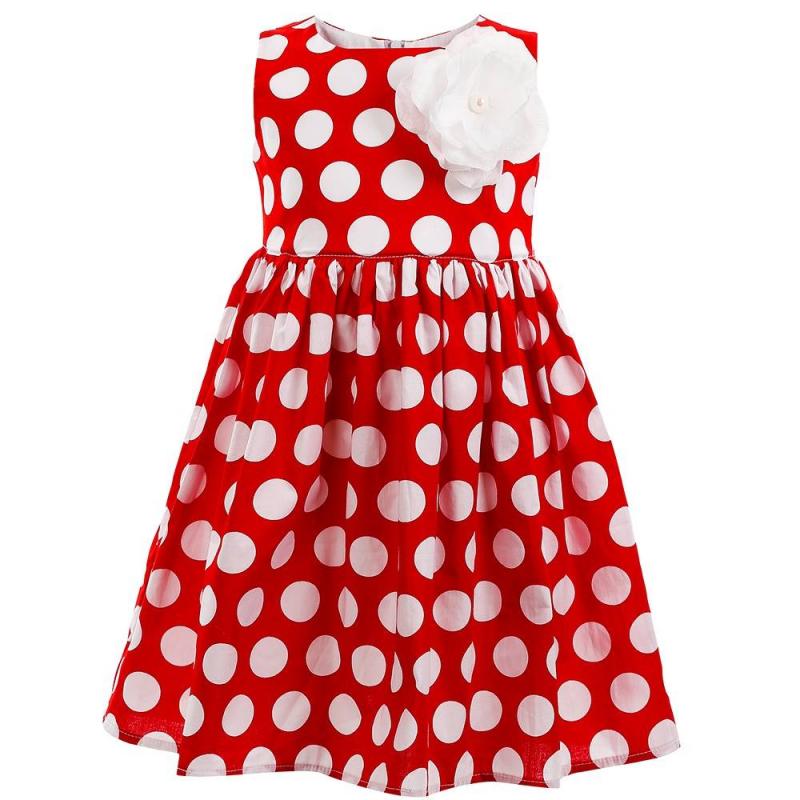 ПлатьеПлатье красного цвета марки Flobaby.<br>Стильное платье выполнено из чистого хлопка в насыщенном цвете и застегивается на потайную молнию. Модель украшена принтом в горошек и выгодно подчеркнута пышной юбочкой. Съемная брошь-цветок завершит модный образ.<br><br>Размер: 2 года<br>Цвет: Красный<br>Рост: 92<br>Пол: Для девочки<br>Артикул: 647353<br>Страна производитель: Россия<br>Сезон: Весна/Лето<br>Состав: 100% Хлопок<br>Бренд: Россия<br>Вид застежки: Молния