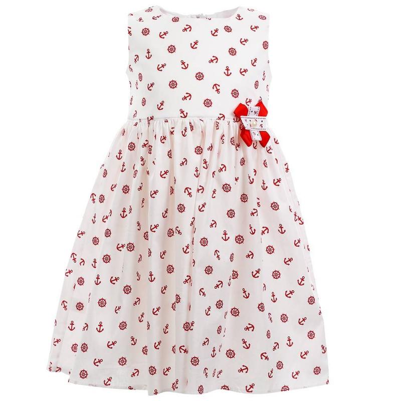 ПлатьеПлатье красного цвета марки Flobaby.<br>Стильное платье выполнено из чистого хлопка и застегивается на потайную молнию. Модель украшена принтом в морском стиле и выгодно подчеркнута пышной юбочкой. Бантик на талии завершит модный образ.<br><br>Размер: 7 лет<br>Цвет: Красный<br>Рост: 122<br>Пол: Для девочки<br>Артикул: 647367<br>Страна производитель: Россия<br>Сезон: Весна/Лето<br>Состав: 100% Хлопок<br>Бренд: Россия<br>Вид застежки: Молния