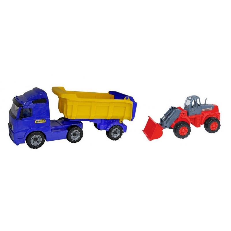 Wader Самосвал с полуприцепом и трактор-погрузчик wader трактор гигант