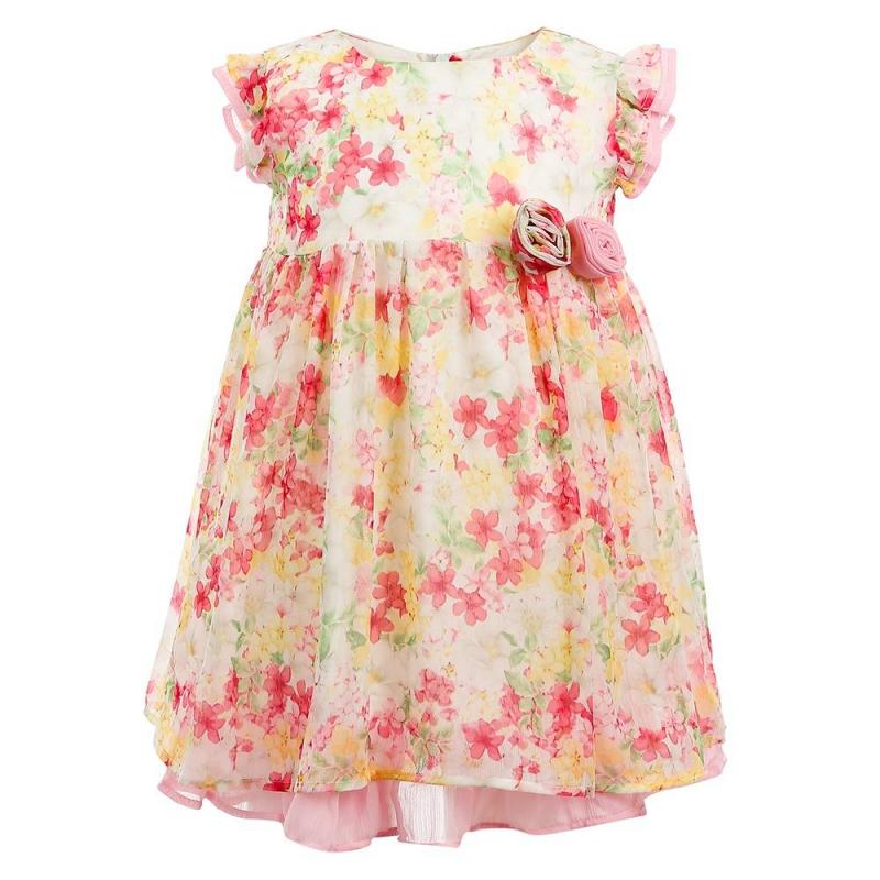 ПлатьеПлатье розового цвета марки Mayoral.<br>Легкое платье на подкладке декорированоцветочным принтом, рюшами и цветочными нашивками. Модель застегивается на молнию для удобства переодевания малышки. Подкладка украшена оборкой нежного розового цвета.<br><br>Размер: 18 месяцев<br>Цвет: Розовый<br>Рост: 86<br>Пол: Для девочки<br>Артикул: 646527<br>Бренд: Испания<br>Страна производитель: Китай<br>Сезон: Весна/Лето<br>Состав: 100% Полиэстер<br>Состав подкладки: 80% Полиэстер, 20% Хлопок<br>Вид застежки: Молния