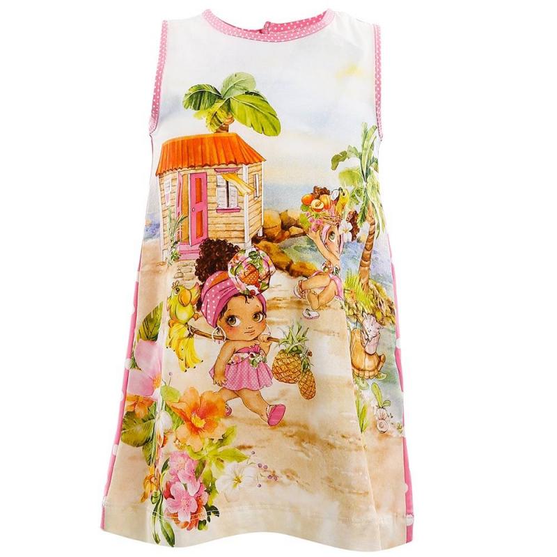 ПлатьеПлатье розового цвета марки Mayoral.<br>Хлопковое платье без рукавов декорировано принтом с изображением девочек на пляже, а спинка украшена белыми горошинами. Имеются кнопки для удобства переодевания малышки.<br><br>Размер: 18 месяцев<br>Цвет: Розовый<br>Рост: 86<br>Пол: Для девочки<br>Артикул: 645756<br>Страна производитель: Китай<br>Сезон: Весна/Лето<br>Состав: 95% Хлопок, 5% Эластан<br>Бренд: Испания<br>Вид застежки: Кнопки