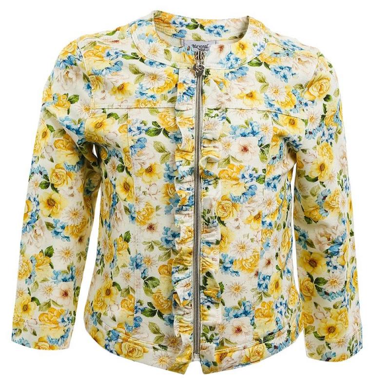 ЖакетЖакет желтого цвета марки Mayoral для девочек.<br>Стильный жакет декорирован ярким цветочным принтом, рюшами и милой подвеской. Модель застегивается на удобную молнию.<br><br>Размер: 12 месяцев<br>Цвет: Желтый<br>Рост: 80<br>Пол: Для девочки<br>Артикул: 647166<br>Бренд: Испания<br>Страна производитель: Марокко<br>Сезон: Весна/Лето<br>Состав: 50% Вискоза, 44% Полиэстер, 6% Эластан<br>Вид застежки: Молния