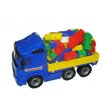 Игрушки, Автомобиль бортовой с конструктором Wader 650431, фото