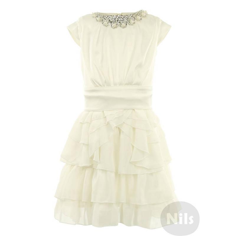 ПлатьеАтласное платье кремовогоцвета марки SILVER SPOON Ceremony. Платье с маленькими рукавами и пышной юбкой с оборками дополнено подкладкой из натурального хлопка. Застегивается на молнию на спинке. К платью прилагается пояс с корсетной шнуровкой и ожерелье из бисера и бусин.<br><br>Размер: 10 лет<br>Цвет: Белый<br>Рост: 140<br>Пол: Для девочки<br>Артикул: 605615<br>Страна производитель: Китай<br>Сезон: Всесезонный<br>Состав: 100% Полиэстер<br>Состав подкладки: 100% Хлопок<br>Бренд: Россия