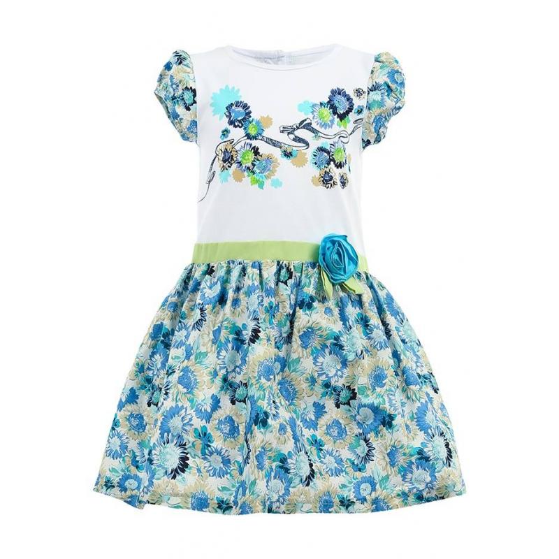 ПлатьеПлатье из комбинированной ткани на хлопковой подкладке с сеткой. Закрытые плечи, белый верх с цветочным рисунком, зеленый поясок декорированный объемным цветком, юбка, расцвеченная голубыми цветами.<br><br>Размер: 4 года<br>Цвет: Голубой<br>Рост: 104<br>Пол: Для девочки<br>Артикул: 000475<br>Страна производитель: Таиланд<br>Сезон: Весна/Лето<br>Коллекция: Весна/Лето 2014<br>Состав: 95% Хлопок, 5% Спандекс