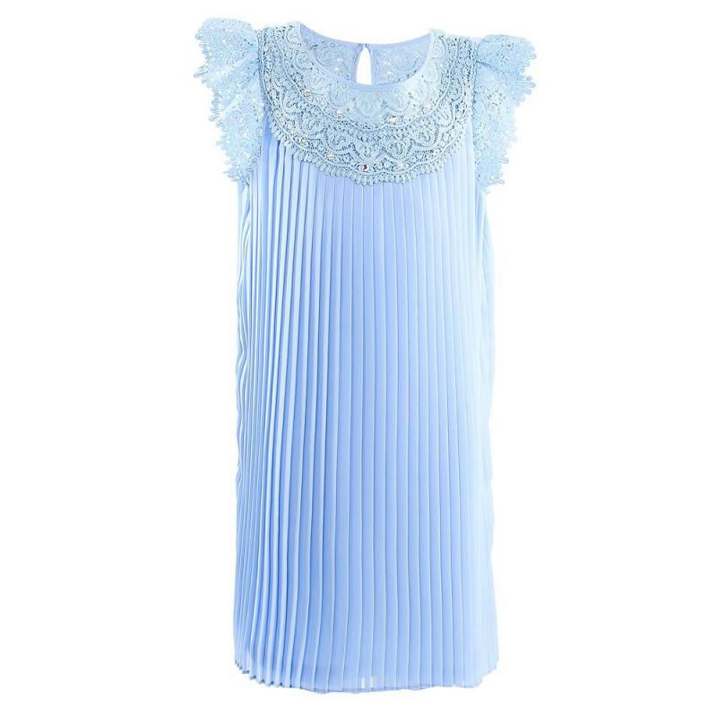 ПлатьеПлатье голубого цвета марки Mayoral.<br>Элегантное плиссированное платье с коротким рукавом украшено кружевом. Модель дополнена пуговицей на спинке для удобства переодевания.<br><br>Размер: 10 лет<br>Цвет: Голубой<br>Рост: 140<br>Пол: Для девочки<br>Артикул: 646345<br>Страна производитель: Китай<br>Сезон: Весна/Лето<br>Состав: 100% Полиэстер<br>Состав подкладки: 100% Полиэстер<br>Бренд: Испания<br>Вид застежки: Пуговицы