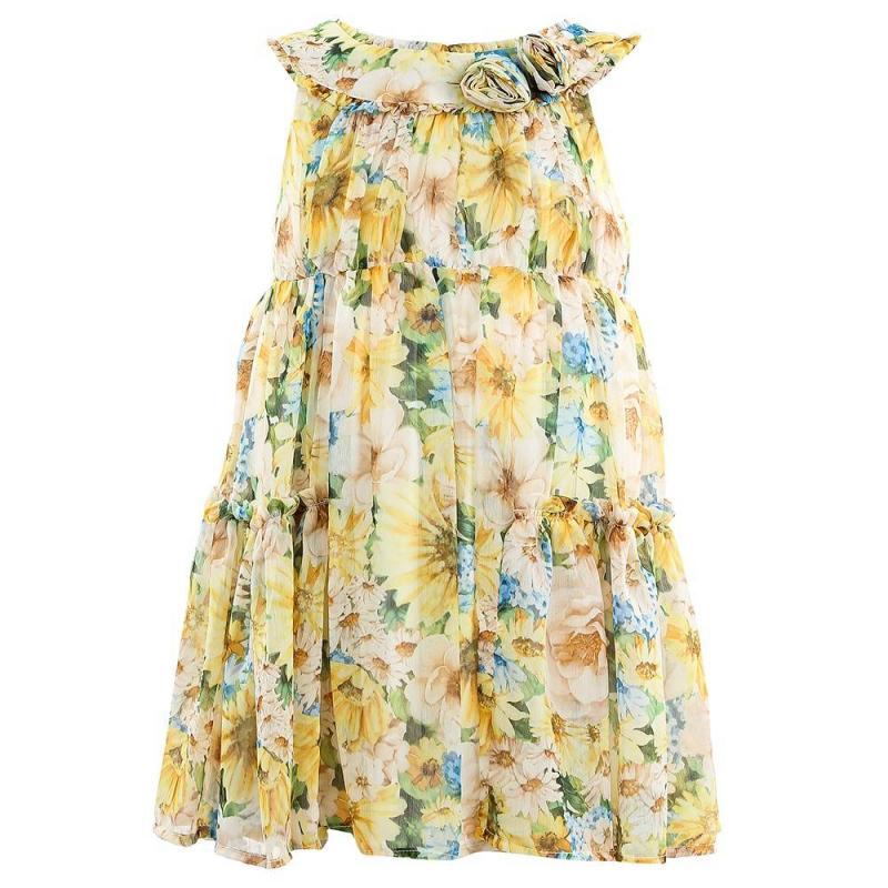 ПлатьеПлатье желтого цвета марки Mayoral.<br>Легкое платье на подкладке декорировано стильным цветочным принтом, а также украшено объемными цветами и рюшами. Модель застегивается на потайную молнию на спинке.<br><br>Размер: 3 года<br>Цвет: Желтый<br>Рост: 98<br>Пол: Для девочки<br>Артикул: 647047<br>Страна производитель: Китай<br>Сезон: Весна/Лето<br>Состав: 100% Полиэстер<br>Состав подкладки: 100% Полиэстер<br>Бренд: Испания<br>Вид застежки: Молния