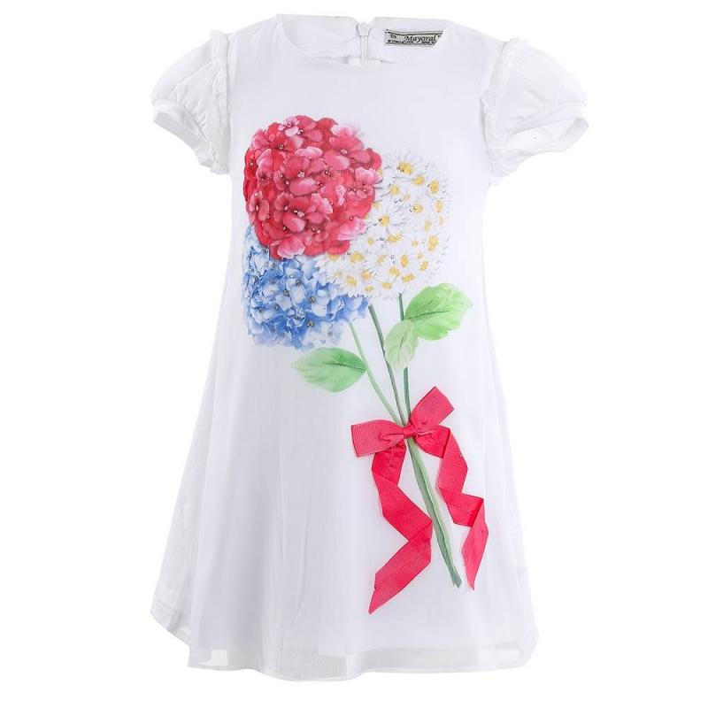 ПлатьеПлатье белого цвета марки Mayoral.<br>Стильное платье с коротким рукавом декорировано цветочным принтом, а также украшено милым бантом, стразами и рюшами. Модель дополнена вставкой и застегивается на молнию на спинке.<br><br>Размер: 3 года<br>Цвет: Белый<br>Рост: 98<br>Пол: Для девочки<br>Артикул: 646326<br>Страна производитель: Китай<br>Сезон: Весна/Лето<br>Состав: 50% Полиэстер, 47% Хлопок, 3% Эластан<br>Состав подкладки: 65% Полиэстер, 35% Хлопок<br>Бренд: Испания<br>Вид застежки: Молния