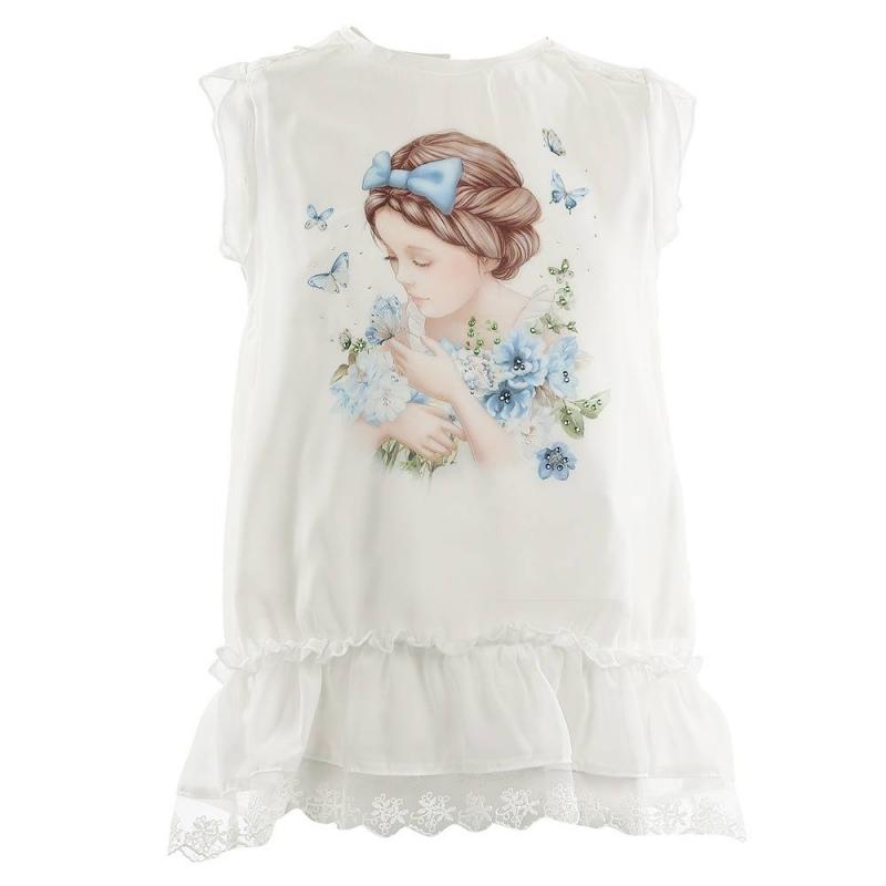 ФутболкаФутболка голубого цвета марки Mayoral для девочек.<br>Блузка декорирована принтом с изображением девочки с бабочками и украшена разноцветными стразами. Модель дополнена рюшами, кружевом, а также подкладкой из чистого хлопка. Имеютсяпуговицыдля удобства переодевания малышки.<br><br>Размер: 8 лет<br>Цвет: Голубой<br>Рост: 128<br>Пол: Для девочки<br>Артикул: 645812<br>Страна производитель: Китай<br>Сезон: Весна/Лето<br>Состав: 100% Полиэстер<br>Состав подкладки: 100% Хлопок<br>Бренд: Испания<br>Вид застежки: Пуговицы