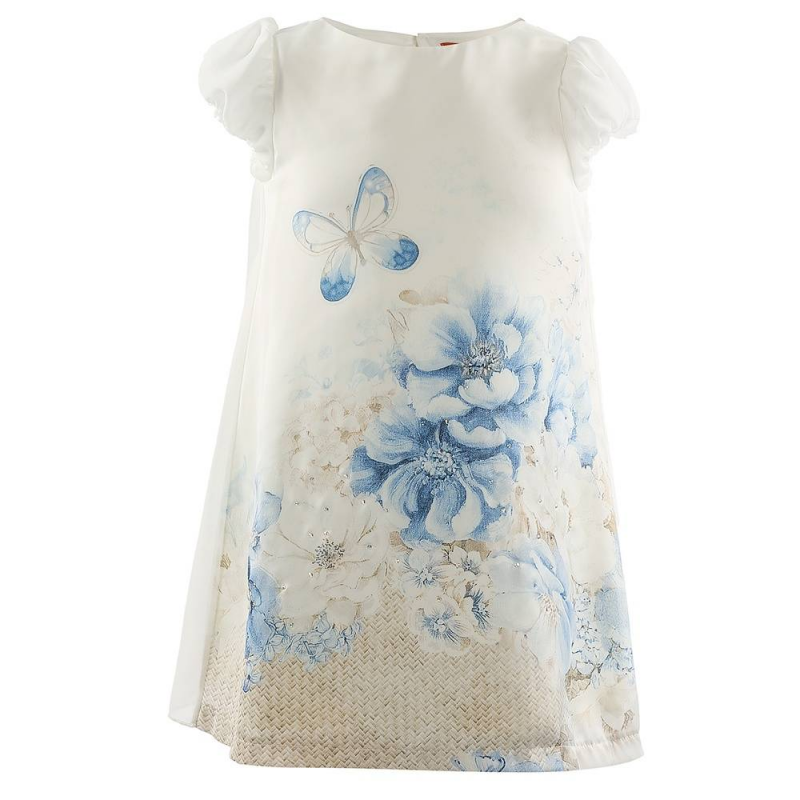 ПлатьеПлатье синегоцвета марки Mayoral.<br>Легкое платье на подкладке с плиссированной спинкой украшено цветочным принтом и стразами. Имеются пуговицы для удобства переодевания малышки.<br><br>Размер: 7 лет<br>Цвет: Синий<br>Рост: 122<br>Пол: Для девочки<br>Артикул: 646968<br>Страна производитель: Китай<br>Сезон: Весна/Лето<br>Состав: 100% Полиэстер<br>Бренд: Испания<br>Вид застежки: Пуговицы