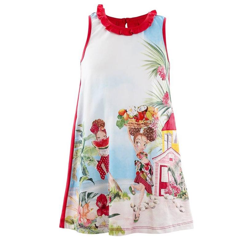 ПлатьеПлатье малинового цвета марки Mayoral.<br>Летнее хлопковое платье без рукавов украшено оборками и принтом с изображением девочек на пляже. На спинке имеется пуговица для удобства переодевания малышки.<br><br>Размер: 3 года<br>Цвет: Малиновый<br>Рост: 98<br>Пол: Для девочки<br>Артикул: 646027<br>Страна производитель: Китай<br>Сезон: Весна/Лето<br>Состав: 95% Хлопок, 5% Эластан<br>Бренд: Испания<br>Вид застежки: Пуговицы