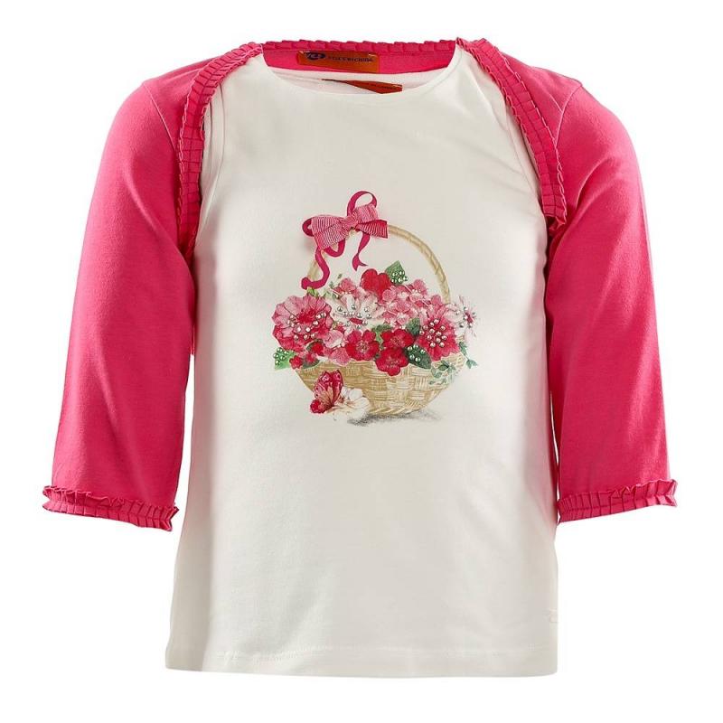 КомплектКомплект майка+болеро розовогоцвета марки Mayoral для девочек.<br>Набор состоит из хлопковой майки молочного цвета и болеро. Майка украшена изображением корзинки с цветами, а также бантиком и стразами. Болеро с рукавом 3/4 декорировано милыми рюшами.<br><br>Размер: 3 года<br>Цвет: Розовый<br>Рост: 98<br>Пол: Для девочки<br>Артикул: 645814<br>Страна производитель: Китай<br>Сезон: Весна/Лето<br>Состав: 95% Хлопок, 5% Эластан<br>Бренд: Испания