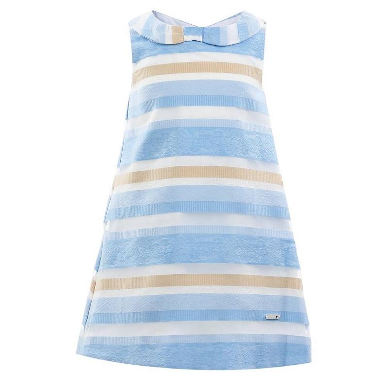 ПлатьеПлатье голубого цвета марки Mayoral.<br>Стильное хлопковое платье без рукавов украшено контрастными полосками. Модель застегивается на потайную молнию на спинке.<br><br>Размер: 4 года<br>Цвет: Голубой<br>Рост: 104<br>Пол: Для девочки<br>Артикул: 646445<br>Страна производитель: Марокко<br>Сезон: Весна/Лето<br>Состав: 91% Хлопок, 8% Полиэстер, 1% Металловолокно<br>Состав подкладки: 65% Полиэстер, 35% Хлопок<br>Бренд: Испания<br>Вид застежки: Молния