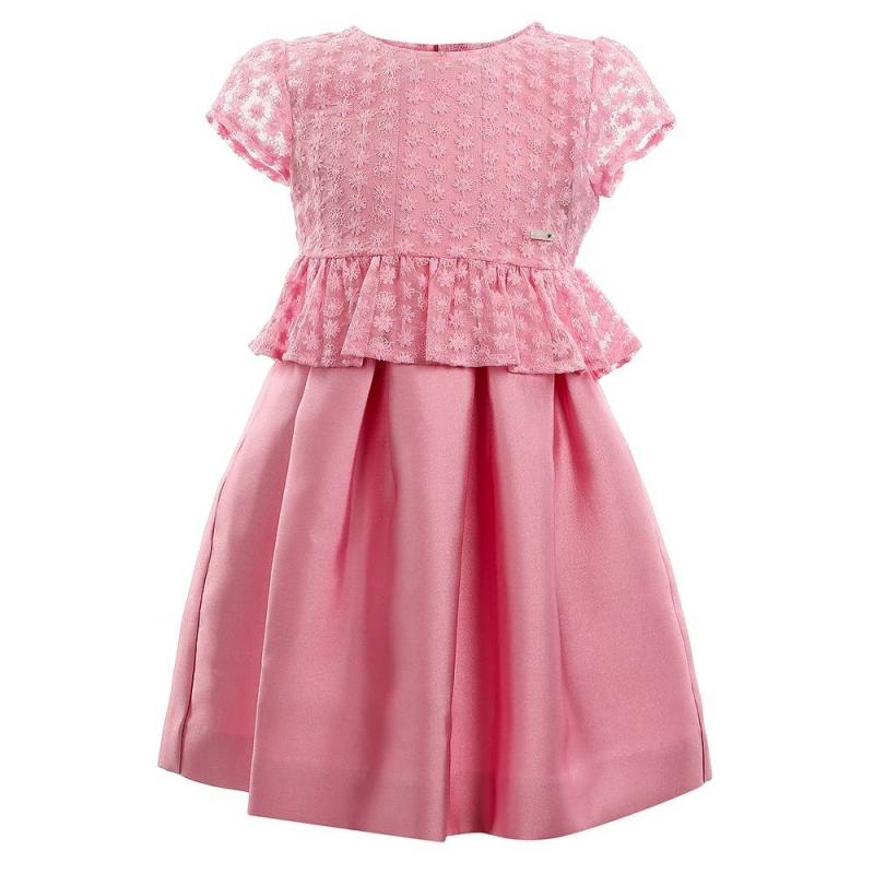 ПлатьеПлатье розовогоцвета марки Mayoral.<br>Нарядное платье без рукавов и на подкладке застегивается сзади на потайную молнию, а также дополнено нежной кружевной кофточкой. Для удобства кофточка застегивается на кнопки.<br><br>Размер: 4 года<br>Цвет: Розовый<br>Рост: 104<br>Пол: Для девочки<br>Артикул: 646563<br>Страна производитель: Китай<br>Сезон: Весна/Лето<br>Состав: 100% Полиэстер<br>Состав верха: 60% Хлопок, 40% Полиамид<br>Состав подкладки: 90% Полиэстер, 10% Хлопок<br>Бренд: Испания<br>Вид застежки: Молния