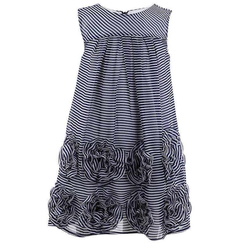 ПлатьеПлатье темно-синего цвета марки Mayoral.<br>Платье на подкладке без рукавов украшено полосками белого цвета, а также объемными цветами. Модель застегивается на потайную молнию на спинке.<br><br>Размер: 9 лет<br>Цвет: Темносиний<br>Рост: 134<br>Пол: Для девочки<br>Артикул: 646117<br>Страна производитель: Индия<br>Сезон: Весна/Лето<br>Состав: 100% Полиэстер<br>Состав подкладки: 65% Полиэстер, 35% Хлопок<br>Бренд: Испания<br>Вид застежки: Молния