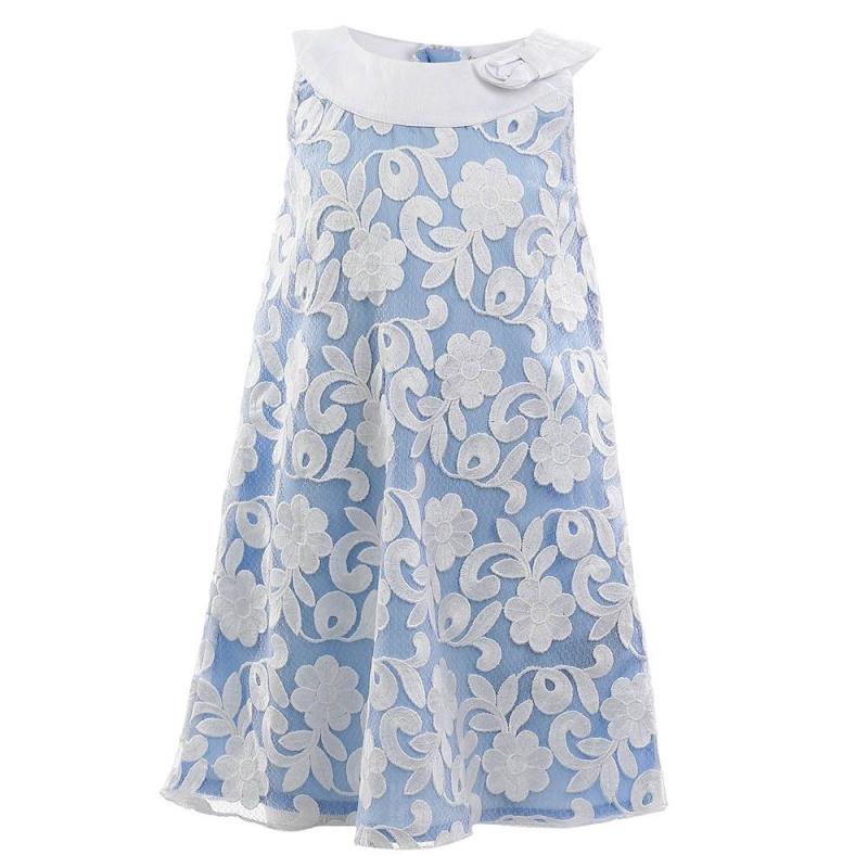 ПлатьеПлатье голубого цвета марки Mayoral.<br>Стильное платье без рукавов украшено вышивкой и объемным бантом. Модель застегивается на потайную молнию на спинке.<br><br>Размер: 7 лет<br>Цвет: Голубой<br>Рост: 122<br>Пол: Для девочки<br>Артикул: 646441<br>Бренд: Испания<br>Страна производитель: Китай<br>Сезон: Весна/Лето<br>Состав: 84% Вискоза, 16% Полиамид<br>Состав подкладки: 80% Полиэстер, 20% Хлопок<br>Вид застежки: Молния